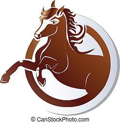 logo, paarde, vector, pictogram