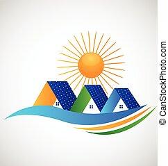 logo, panneau, solaire, maisons
