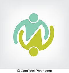 logo, par, omfavnelse, teamwork