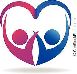 logo, para, list miłosny, miłość