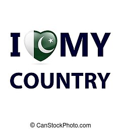 Logo Patriot - Heart with Pakistani flag colors. I Love My...