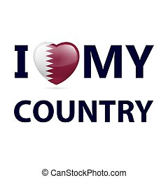 Logo Patriot - Heart with Qatari flag colors. I Love My ...