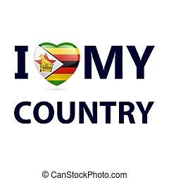 Logo Patriot - Heart with Zimbabwean flag colors. I Love My ...