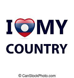 Logo Patriot - I Love My Country - Laos. Heart with flag...
