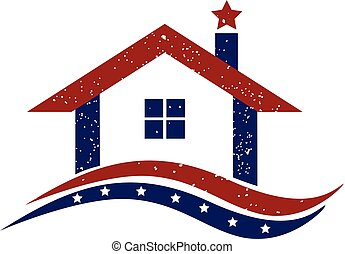 Logo patriotic house - Patriotic house illustration logo...