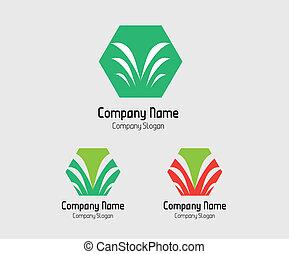 logo, paume, symbole, arbre, hexagones