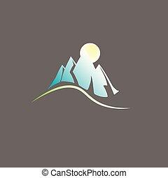 logo, paysage montagne, vecteur