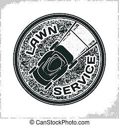 logo, pelouse, service