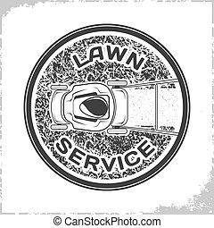 logo, pelouse, service, monochrome
