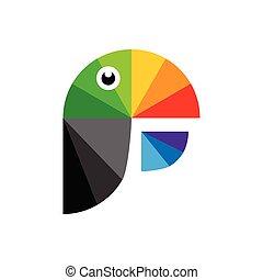logo, perroquet, coloré