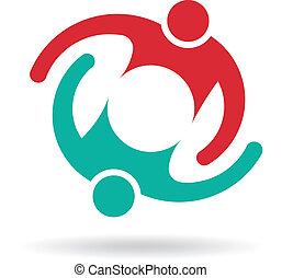 logo, personer, 2, omfavnelse, teamwork