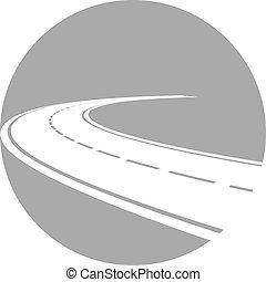 logo, perspective, route, courbé