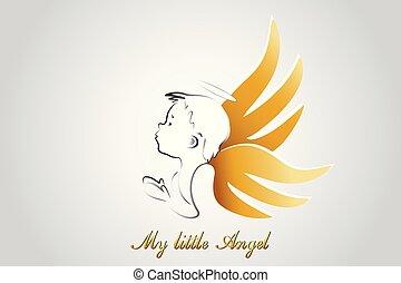 logo, peu, prier, ange
