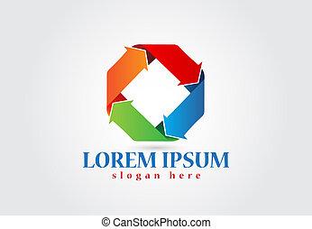 logo, pfeile, in, diamant gestalt, vektor, bild