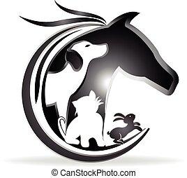 logo, pferd, hund, kanninchen, katz