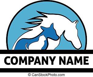 logo, pferd, hund, katz