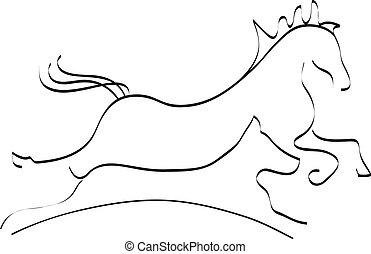 logo, pferd, silhouette, hund