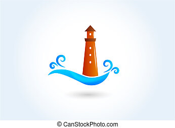 logo, phare, vecteur