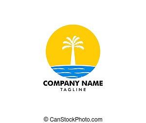 logo, pictogram, strand, illustratie, element