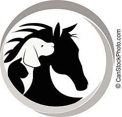 logo, pies, kot, i, koń