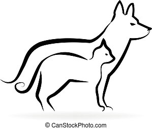 logo, pies, kot