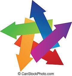 logo, pijl, kleurrijke