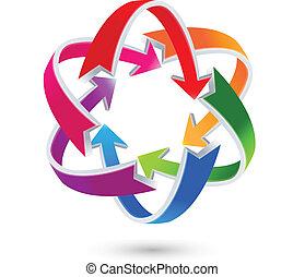 logo, pijl, kleurrijke, zakelijk