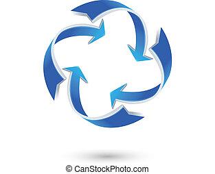 logo, pijl, zakelijk