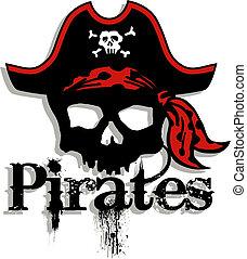 logo, piraci, czaszka