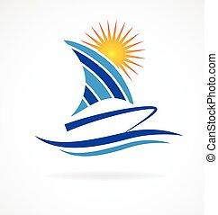 logo, plage, bateau, vagues