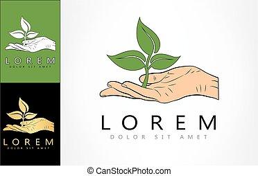 logo, plante, main