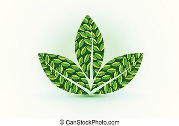 logo, plante, sundhed, det leafs, natur