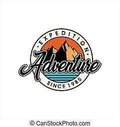 logo, plat, vendange, vecteur, aventure