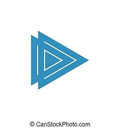 logo, połączony, dd, litera, trójkąt, wektor