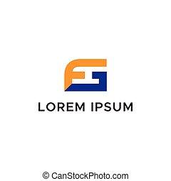 logo, początkowy, litera, fg