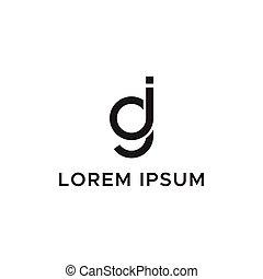 logo, początkowy, litera, gi