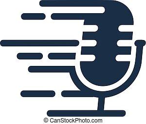 logo, podcast, conception, jeûne, icône