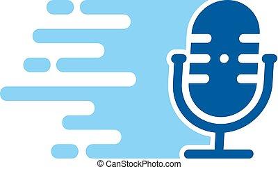 logo, podcast, conception, vitesse, icône