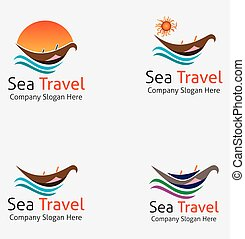 logo, podróż, morze, łódka