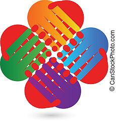 logo, poignée main, collaboration
