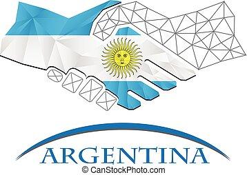 logo, poignée main, fait, drapeau, argentina.