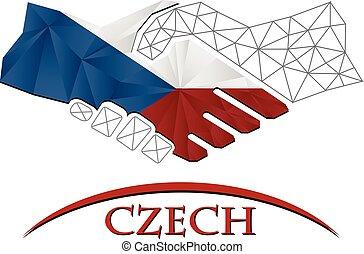 logo, poignée main, fait, drapeau, czech.