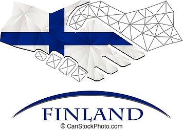 logo, poignée main, fait, drapeau, finland.