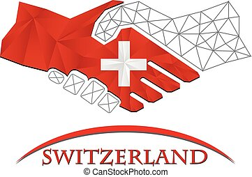 logo, poignée main, fait, drapeau, switzerland.
