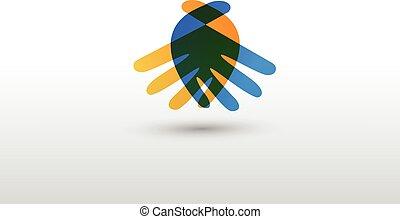logo, poignée main, professionnels, vecteur
