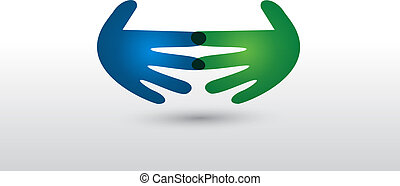 logo, poignée main, vecteur, professionnels