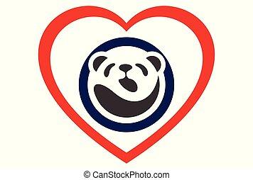 logo, pojęcie, miłość, panda, ikona