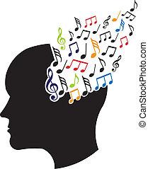 logo, pojęcie, muzyczny, mózg