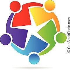logo, pojęcie, przyjaźń, teamwork
