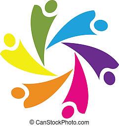 logo, pojęcie, przyjaciele, teamwork
